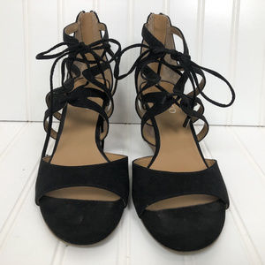 Franco Sarto Black Suede Wedge Open Toe Sandals